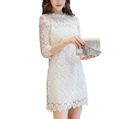 New women lace dress simple korean style embroidery hollow out party dresses mini sexy summer office wear see through vestido
