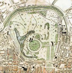 Regent& Park London from 1833 Schmollinger map - Regency era - Wikipedia London Poster, London Map, Old London, London Places, Victorian London, Regents Park London, Cities, London History, Tudor History
