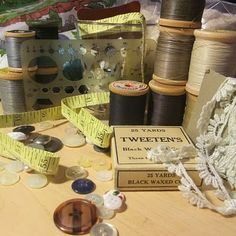 Vintage buttons, thread, lace...