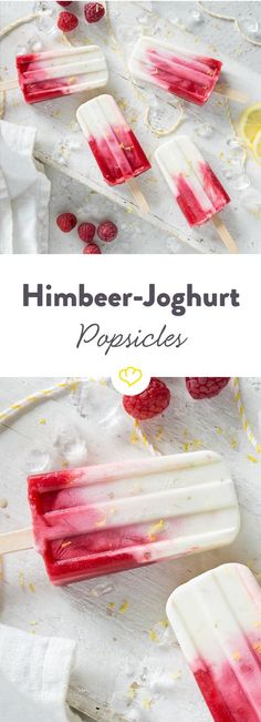 For your ice cream breakfast day: raspberry yogurt popsicles - Eis - Dessert Raspberry Yogurt Popsicles, Raspberry Ice Cream, Yogurt Ice Cream, Ice Popsicles, Breakfast Popsicles, Frozen Desserts, Summer Desserts, Ice Cream For Breakfast, Raspberry Breakfast