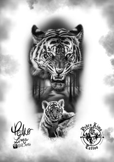 tiger and his little cub - tiger and his little cub - Tiger Tattoo Design, Tiger Design, Best Sleeve Tattoos, Body Art Tattoos, Tiger Sketch, Hunter Tattoo, Cubs Tattoo, African Tattoo, Samurai Artwork