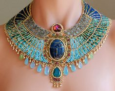 Egyptian Goddess   READY to SHIP  Egyptian Scarab Collar