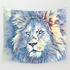 SmartMix Animal- Lion Wall Tapestry by jamcolorsspecial Wall Tapestries, Wall Hangings, Lion Tapestry, Tablecloths, Hand Sewn, Vivid Colors, Favorite Color, Searching, Centerpiece