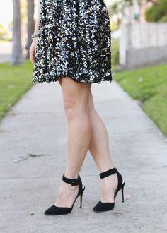 black sequin skirt.