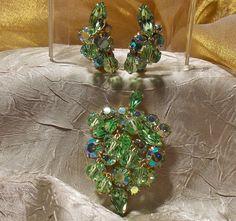 Vintage Crystal Rhinestones Brooch and Earring Set Kramer.