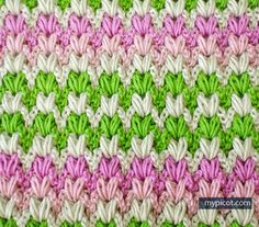 Free pattern @ MyPicot - Multi-coloured puff stitch...Thanks so xox ☆ ★…