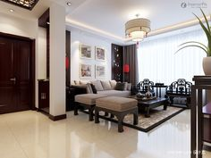 CHINESE STYLE INTERIORS | New Chinese style ceiling. Chinese-style living room, Chinese style ...