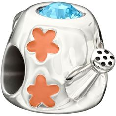 Chamilia's Sterling Silver Watering Can with Crystal and Enamel #chamilia #garden #flowers #jewelry #bead