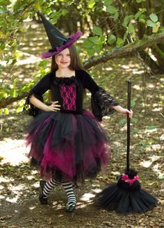 Gothic Witch Costume - Halloween Dark Lace Witch Tutu Dress