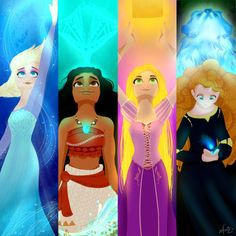4 princesses + glowing piece by me, characters by Disney, please do not repost