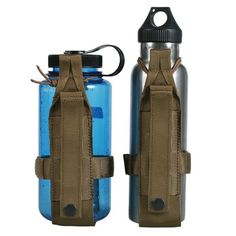 OneTigris Minimalist Tactical Molle Water Bottle Holder This minimalist design bottle holder is such a simple hands-free solution, just makes you cool and keep the water within easy reach Elastic rope and velcro strap that expands and contracts to fit the container being carried. Or you can figure out other gear you wanna hold MOLLE webbing for being attached onto molle backpack and most belt Made of rugged 600D nylon, strudy but lightweight Only Bottle Holder for sale, adjusts to fit your…
