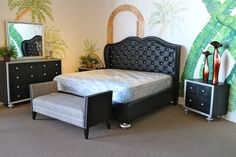 McFerran Black Tufted & Rhinestone Eastern King Bedroom Set - Colleen's Classic Consignment, Las Vegas, NV - www.cccfurnishings.com