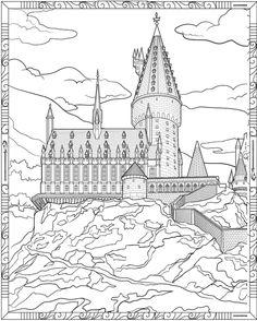 Chateau Harry Potter, Harry Potter Château, Classe Harry Potter, Harry Potter Colors, Harry Potter Quilt, Harry Potter Drawings, Castle Coloring Page, Coloring Books, Harry Potter Coloring Pages