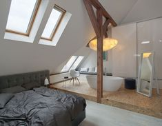 Certainly, everyone will need Amazing Home design to decorate their Home. If you would, you may check Be Inspired Combining Contemporary Attic Apartment Design With Modern Interior Features to help you find out Amazing Home based on your favorite. Attic Apartment, Attic Rooms, Apartment Design, Attic Bathroom, Bedroom With Bathtub, Open Bathroom, Attic Playroom, Apartment Ideas, Master Bedroom