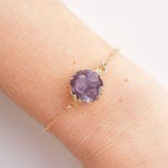 Raw Amethyst Drusy Bracelet in Gold- Druzy Jewelry - OOAK