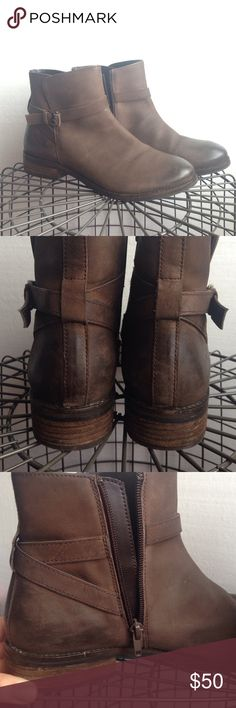 Brown leather booties: low heel 1 buckle • zipper up the side • go with everything Anthropologie Shoes Ankle Boots & Booties