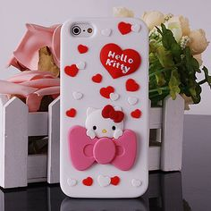 3D Lovely Hello Kitty Cartoon Bow Knot Cart Soft Silicone Case for iPhone 5 5g | eBay