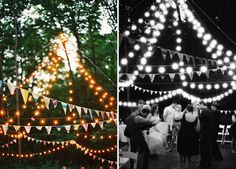 Backyard Circus Wedding: I love the idea of cascading lights- i know this was supposed to mimic a tent, but couldn't this be easily converted for an indoor wedding?