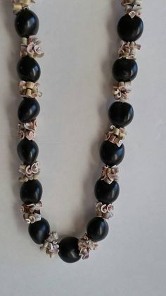 Vintage Hawaiian Kukui Lei Nut and Porcelain Necklace by QVintage