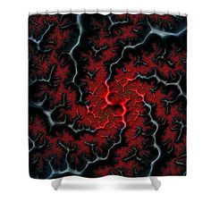 """Shower curtain: Black veins and red blood: abstract art based on a fractal. In the end it's all about love and passion. This shower curtain is made from 100% polyester fabric and includes 12 holes at the top of the curtain for simple hanging.  The total dimensions of the shower curtain are 71"""" wide x 74"""" tall. (c) Matthias Hauser hauserfoto.com"""