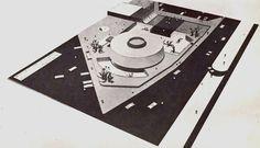 Maqueta del proyecto perspectiva de un museo en Tijuana, Baja California, México 1962  Arqs. Pedro Ramírez Vázquez y Rafael Mijares -  Maguette for a proposed museum in Tijuana, BC, Mexico 1962