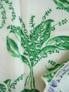 Vintage lily of the valley print linen tablecloth by D. Porthault