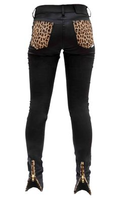 Black skinny jeans with leopard pockets and zipper leg detail