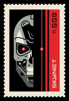 Pop Culture Postage: The Terminator - Clark Orr Retro Graphic Design, Graphic Design Inspiration, Postage Stamp Design, Postage Stamps, Cultura Pop, Arte Pop, Digital Illustration, Illustration Styles, Branding