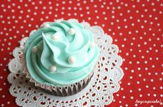 cupcake, different angle with patterned paper and lace dolly