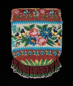 Bag Date: 1830–60 Culture: American Medium: glass, linen