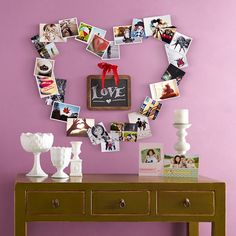 Impress your Valentine with a heart-shaped collage of pictures on their wall! Heart Shaped Collage, Valentines Day, Frame, Wall, How To Make, Pictures, Inspiration, Home Decor, Valentines Diy