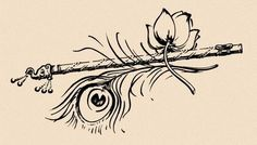 krishna line drawing Krishna Tattoo, Krishna Drawing, Krishna Painting, Krishna Art, Radhe Krishna, Tatouage Yogi, Flute Drawing, Flute Tattoo, Art Sketches