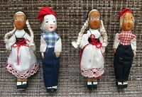 Vintage Hand Carved Danish Boys & Girls Wooden Figures-Made in 1949-1950