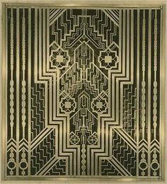 Metal grille from the lobby of Ely Kahn's Squibb building in Manhattan, New York City.  The geometric shapes and stylized flower motifs, along with the material from which it is made, places this decor in the Art Deco Movement.