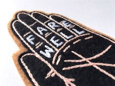 Hand Embroidered Patch, Farewell Palm. Wool Blend Felt Sew On Patch, Hand…