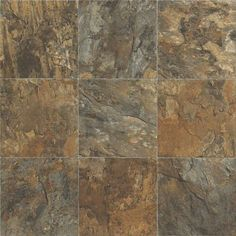 """Resilient Flooring in style """"Sojourner"""" color Tuscan - Replicates natural slate in rich, saturated colors.  Flooring by Shaw"""