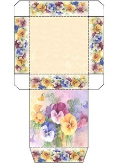 Box printed with pansies. I would cut the sides of the lid a bit wide to make flaps, Diy Gift Box, Diy Gifts, Gift Boxes, Foam Crafts, Diy And Crafts, Origami Templates, Box Templates, Printable Box, Diy Envelope