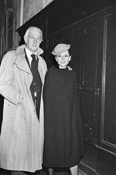 The French fashion designer Hubert de Givenchy photographed with his beloved muse Audrey Hepburn by Bertrand Rindoff Petroff after a dinner at Maxim's in Paris (France), on March 08, 1979.