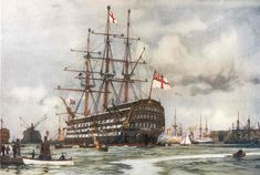 """Giclee Print: The """"Victory"""" at Portsmouth, Came into Harbour from Last Commission Nov, 1812 by Charles Edward Dixon : Hms Victory, Ship Of The Line, Naval History, Wooden Ship, Nautical Art, Tropical Art, Navy Ships, Ship Art, Royal Navy"""