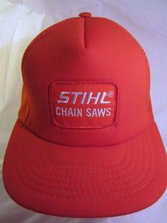 f54b5f172ac Vtg STIHL Orange Ball Cap Embroidered Logo Mesh Structured Trucker Hat Snap  Back  treeservice