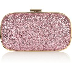 Anya Hindmarch Marano glitter-finish leather clutch ($550) ❤ liked on Polyvore featuring bags, handbags, clutches, purses, accessories, bolsas, women, red hand bags, red handbags and red clutches