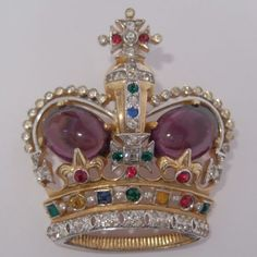RARE LARGE VINTAGE MAZER BROS GOLD PLATE RHINESTONE CROWN JEWELS CROWN BROOCH