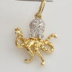 Solid 14K Yellow Gold Diamond Octopus Charm Necklace Pendant, via Etsy.
