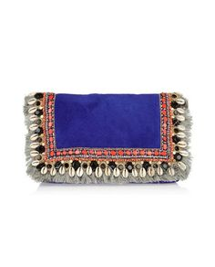 Suede, baubles & beads on a clutch! as found on Feyt...