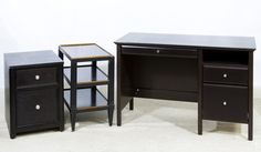 Lot 115: Painted Desk, Cabinet and End Table; Desk with two side drawers, rolling two drawer cabinet and end table