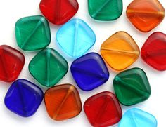 Geometrical Beads Mix, Diamond Shape, Czech Glass (8) - MayaHoneyBead