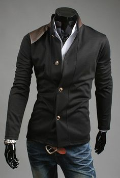 Fashion Stand Collar PU Leather Splicing Long Sleeves Men's Cotton Blend Coat (BLACK,2XL) China Wholesale - Sammydress.com