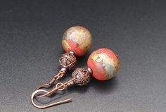 Lampwork beads, copper beads and tiny freshwater pearls