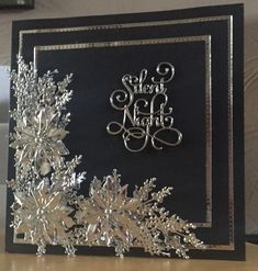 Using sue Wilson poinsettia corner in black and silver Christmas Cards 2018, Simple Christmas Cards, Christmas Paper Crafts, Homemade Christmas Cards, Xmas Cards, Homemade Cards, Handmade Christmas, Holiday Cards, Crochet Christmas