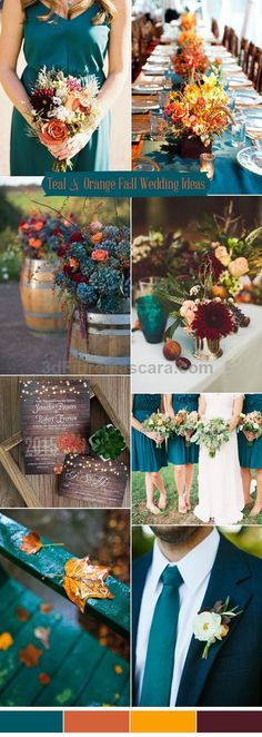 romantic teal blue and orange rustic fall wedding colors for 2017 trends #weddings #wedding #marriage #weddingdress #weddinggown #ballgowns #ladies #woman #women #beautifuldress #newlyweds #proposal #shopping #engagement